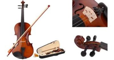 Full size beginners acoustic violin with case and bow