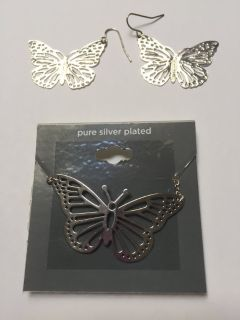 *NEW* Pure Silver Plated Butterfly Necklace & Earrings