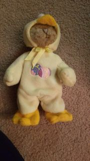 Bear with a duck outfit on
