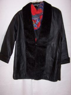 Tower Hill Leather Coat with Smooth Trim Sz M