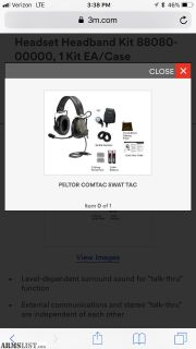 For Sale/Trade: 3M PELTOR COMTAC III ACH Tactical Communication Headset Headband Kit