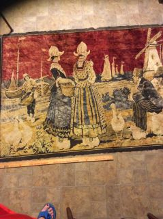 Unusual Antique tapestry rug most fringe missing edges frayed couple of pulled places on rug