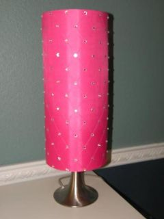 Silver Lamp with Hot Pink Shade