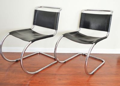 Pair Vintage Mid Century Black Cantilever Chairs