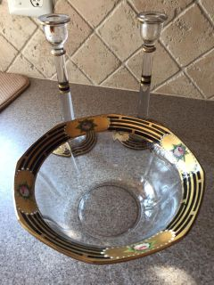 Beautiful Antique bowl with matching candlesticks