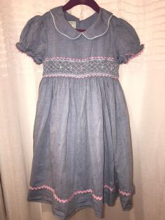 Girls smocked dress, ties in the back