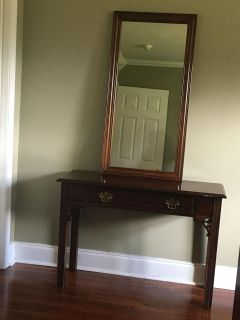 Wood side table with mirror