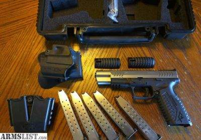 "For Sale: Springfield Armory XDM 9mm 5.25"" 2 Tone Stainless Competition (5) 19 rd Mags"