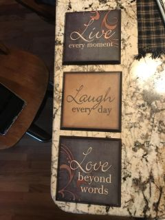 Primitive 3 plaque wall signs. 6 1/2 inch squares