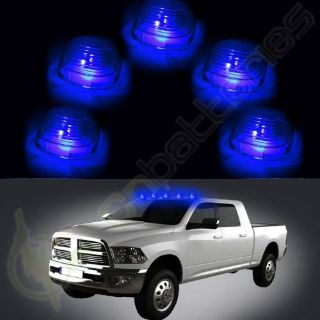 Sell 5 Roof Running Light Cab Marker Smoke Cover +Blue LED Bulb For Ford F-250 E-350 motorcycle in Pomona, California, United States