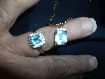 BLUE TOPAZ RING AND NECKLACE