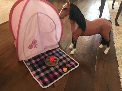 18 Doll camping set and horse