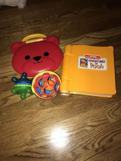 Set of baby toys and computer