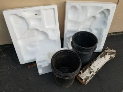Free plant containers,birch log and miscellaneous Styrofoam pieces
