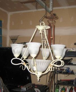 Wrought Iron Chandelier - 7 Lights - Beige/Cream Color