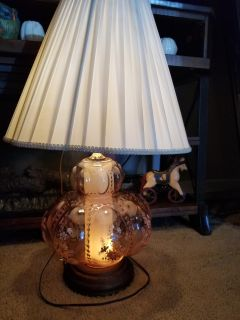 Antique rose glass lamp with shade
