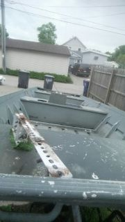16 ft. Flat bottom w. Trailer. No motor, has pum and cut out for live well. Also has mount brackets