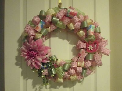 """Handmade handcrafted 23"""" pink green spring summer floral wreath wall home decor"""