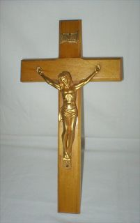 "Crucifix - 12"" Tall - Wood with 4"" x 5"" Metal Body"