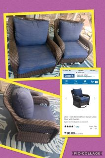 Pair of excellent condition swivel/glider outdoor patio chairs. Steel frame. Allen & Roth