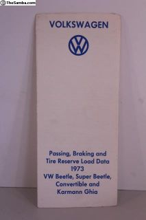 1973 VWOA Passing Braking Tire Load Data Booklet