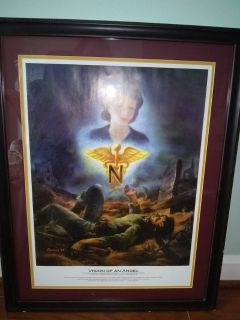 Vision of an Angel - Army Nurse Corps Poster in Frame