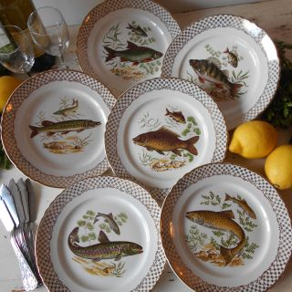 Set of Six French, 1960s, Porcelain Fish Plates.