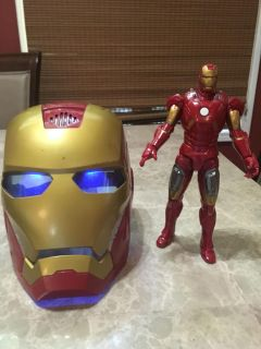 Iron man light up and noise mask and 10 inch action figure