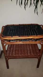Wicker stand with removable tray