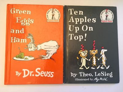 2 Beginner Books Green Eggs by Dr. Seuss & Ten Apples by Theo Lesieg Covers have a tiny bit of wear but All pages are crisp and clean.