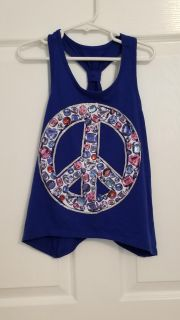 Justice Jeweled Peace Sign Tank size 7
