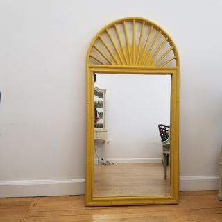 Large Mid Century Yellow Faux Bamboo Arched Mirror