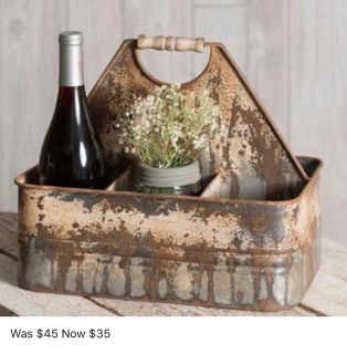Antiqued bucket caddy- new