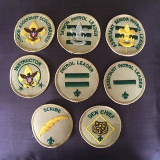 Lot of 8 patches Boy Scouts of America position patches