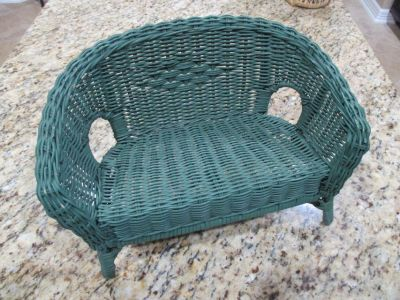 "18"" Doll Rattan Loveseat Settee and Chair"