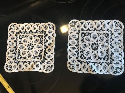 2 Beautiful square doilies 7x7 clean