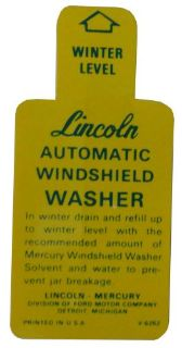Find 1949 1950 1951 1952 1953 Lincoln Windshield Washer Bottle Bracket Decal motorcycle in San Diego, California, United States, for US $6.92