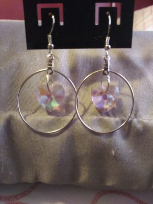 Hand Made Crystal Heart Shaped Earrings