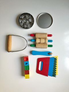 Lot of Wood + Metal Play Dough Tools - Rollers, Cookie Cutters, Texture