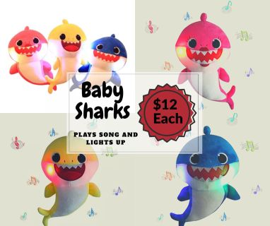 Baby Shark Plush Toy Lights Up Plays Baby Shark Song (New Condition)