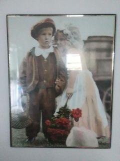 Little Boy & Girl in vintage clothing.