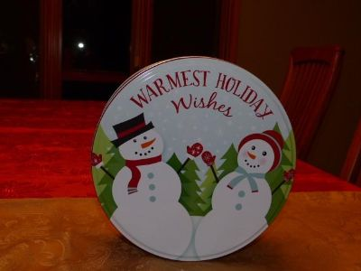 """Snowman """"Warmest Holiday Wishes"""" Tin"""