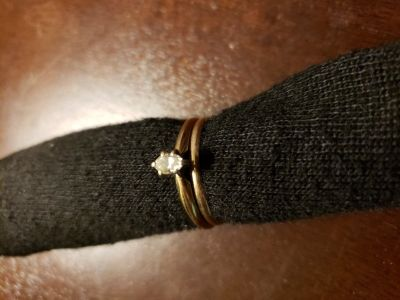 14k gold ring with marquis cut diamond