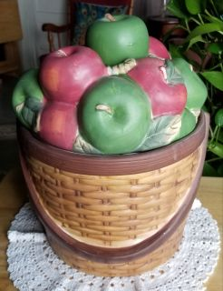 Gorgeous Apple Basket Cookie Jar EUC