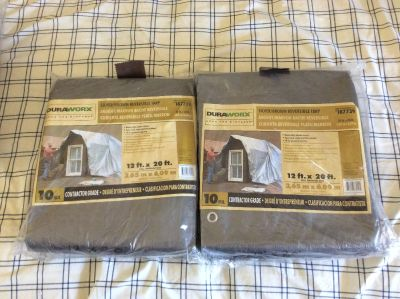 Two new 12 x 20 10 mil tarps with grommets every 18 in sealed packages. MOVING must be gone by 12/23