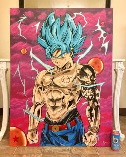 Hand painted 3 x4 dragon ball z painting