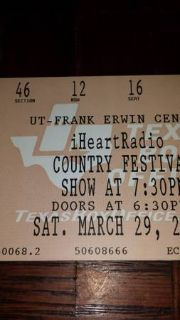 2 Tickets iHeart Radio Country Music Festival