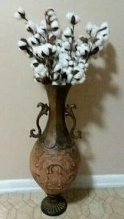 FLOOR VASE/LOTS OF COTTON STEMS.....NEW CONDITION