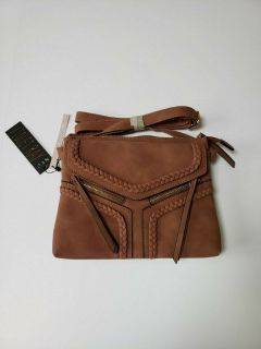 nwt violet ray nyc magnetic flap crossbody purse * burnt sienna