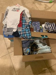 3 boxes with Baby items read description